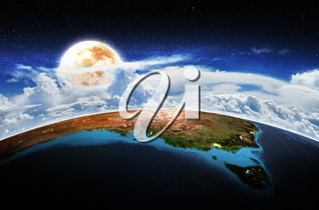 Australia moon in star sky. Elements of this image furnished by NASA. 3D rendering