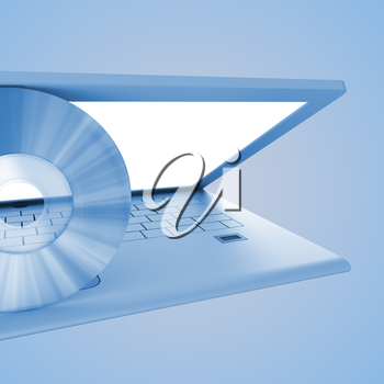 Computer. 3d rendering on blue background concept