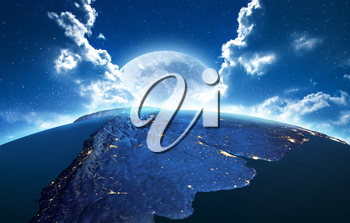 South America. Elements of this image furnished by NASA. 3D rendering