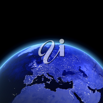 Europe 3d rendering. Maps from NASA imagery