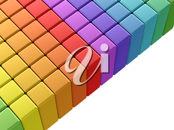 Colorful rainbow cubes. 3d rendering on white background