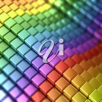 Rainbow shape. 3d render defocused colors background