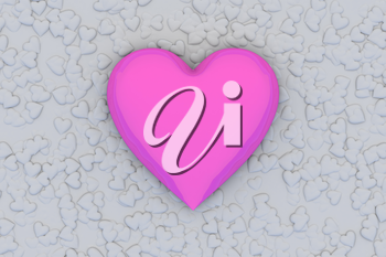 Valentine's Day abstract 3D illustration pattern with big pink or rosy shiny heart on background made from many smaller gray hearts.
