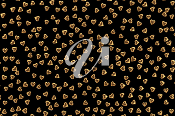 Valentine's Day abstract 3D illustration pattern with gold hearts on black background.