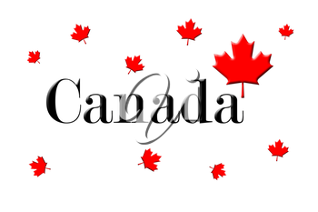 Canada Written On White Background With Maple Leaf 3D Rendering