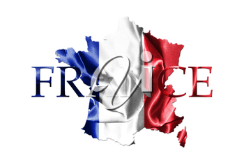 National Flag Of France Waving in the Wind With French Map And Country Name On Isolated On White Background It 3D illustration
