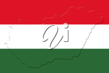 Hungarian National Flag And Map 3D illustration