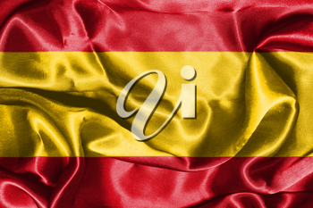 Spanish National Flag Waving In The Wind 3D illustration