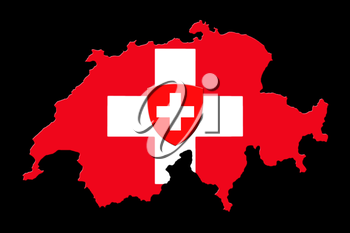 Map Of Switzerland And Flag On Black Background