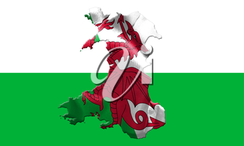 Map Of Wales With Flag Of Country On It On Flag Background 3D Illustration
