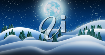 Christmas Night and the Snow Fields of North Pole With Full Moon Background
