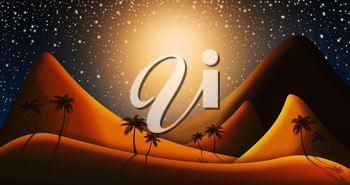Christmas Nativity Scene Of Judaean Desert in the Night With Starry, Glowing Sky Illustration