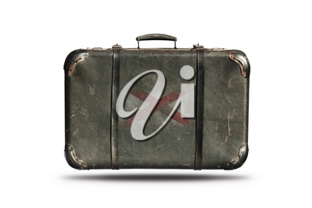 Travel Vintage Leather Suitcase With Flag Of Northern Ireland Isolated On White Background