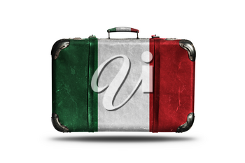 Travel Vintage Leather Suitcase With Flag Of Italy Isolated On White Background