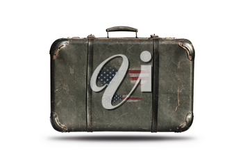 Travel Vintage Leather Suitcase With American Flag in Shape Of Sunglasses and Mustaches. Happy 4th of July Independence Day United States Of America