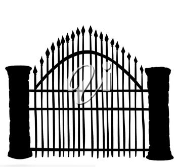 Cemetery Gates Black Silhouette Isolated On White Background