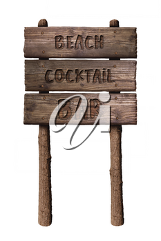 Summer Wooden Board Sign with Text, Beach Cocktail Bar Isolated On White Background