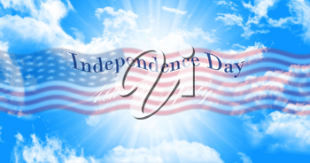 Independence Day, 4th of July Sign Against Blue Sky Background With American Flag