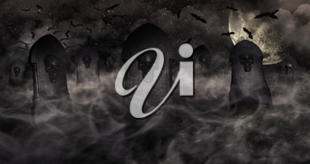 Cemetery At Night With Tombstones With Skulls And Cloudy Sky Full Of Stars in The Background. Halloween Concept 3D illustration