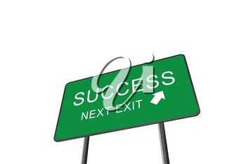 Success Next Exit Green Road Sign Isolated On White Background. Business Concept 3D Rendering
