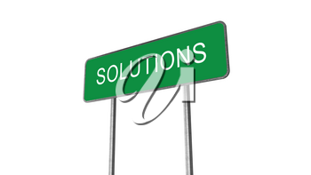 Solutions Green Road Sign Isolated On White Background. Business Concept 3D Rendering