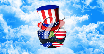 Planet Earth With Uncle Sam's Hat, Sunglasses and Mustaches. United States of America Flag. Independence Day Concept 3D illustration